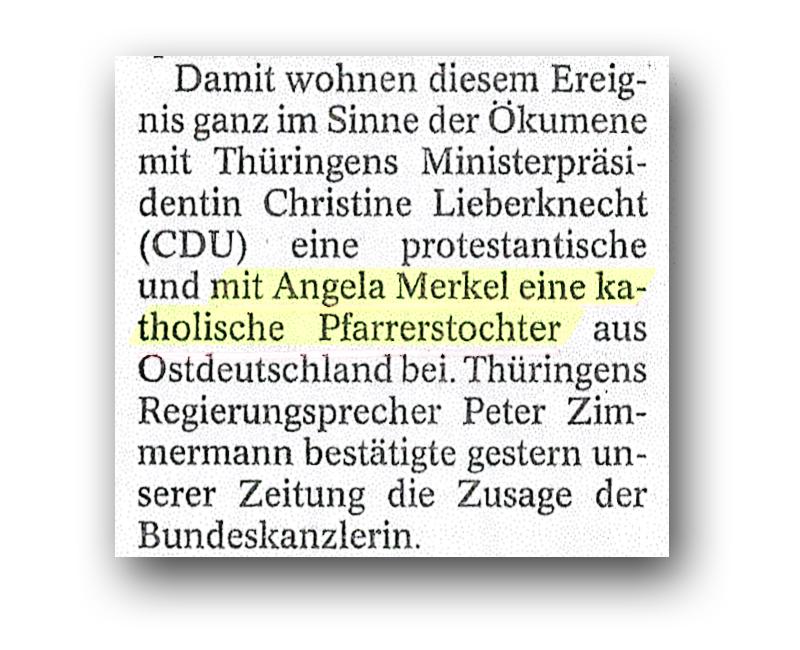 Angela Merkel, katholische Pfarrerstochter