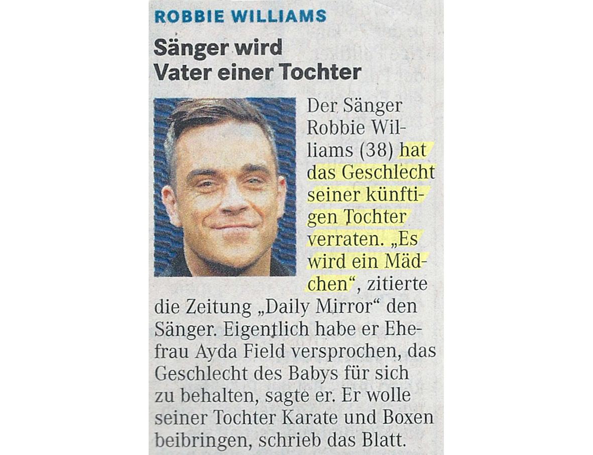 Robbie Williams verrät Geschlecht seiner Tochter